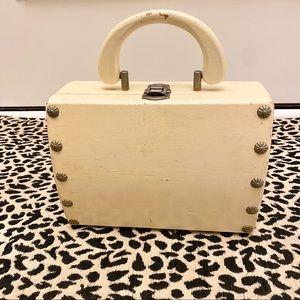 VTG 50s • Portable Handheld Wooden Box Bag